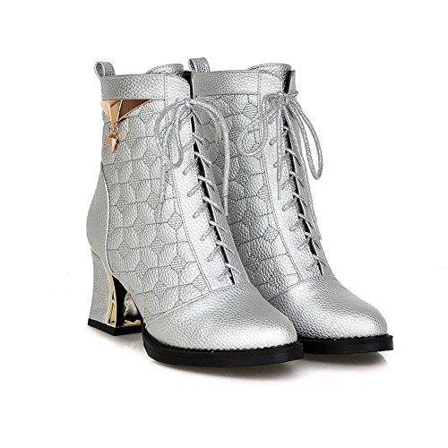 AgooLar Damen Hoher Absatz Weiches Material Niedrig-Spitze Rein Schnüren Stiefel Silber