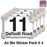 Daffodil Flower, Set 4x A5individuellen Mülltonne Aufkleber/Vinyl-Etiketten mit Hausnummer und Street Name–[A5] 21cm x 15cm Kit of 4x Aufkleber der