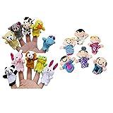 Berrose-16 Stück Fingerpuppen Tiere Leute Familienmitglieder Pädagogisches Spielzeug-Fingerpuppen, Samt Baby Story Zeit Requisiten, weiche pädagogische Handpuppe Set Puppen Spielzeug für Baby und Kleinkinder (Multicolor, 16PC)