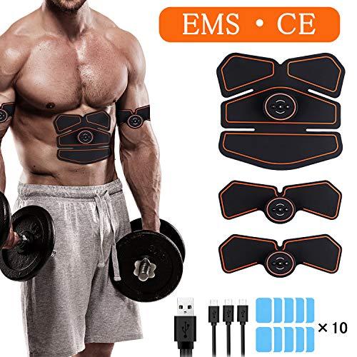 Morease Electrostimulateur Musculaire EMS Appareil Abdominal Muscle Stimulateur pour Homme et Femme,Ceinture Abdominale Electrostimulation/Bras/Jambes/Fesses, USB Rechargeabl