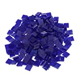 Segolike 250 Pieces Colorful Square Vitreous Glass Mosaic Tiles Pieces for DIY Art and Crafts Supplies 10x10mm - dark blue