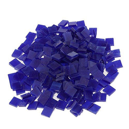 MagiDeal 250 Pieces Square Vitreous Glass Mosaic Tiles Pieces Tessara for DIY Art Crafts Supplies 10x10mm - Dark blue