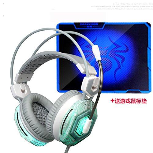 Zgb spring@ cuffia desktop pc laptop gaming headset con microfono microfono bassi elegante dipinto su tela (colore : bianca, design : colorful luminous)