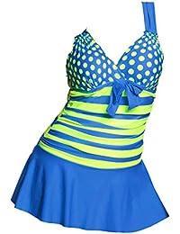 Juqilu Damen Bikini Set Große Größen Badeanzug Zweiteilig Tankini Wellen  Punkt Splice Streifen Schwimmanzug Bademode Strandmode 3798c94c9a