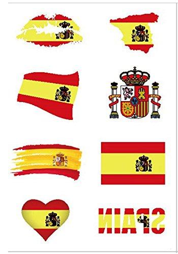 Newin star tattoos national, tatuaggi adesivi temporanei con la bandiera della nazionale da applicare sul viso, per i tifosi di calcio (bandiera spagnola), 8 unità.