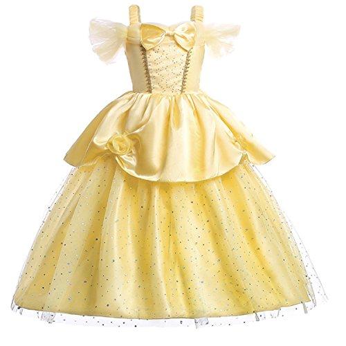 LCXYYY Mädchen Prinzessin Grimms Belle Tüll Blume Kleid Kostüm Karneval Verkleidung Party Cosplay Hochzeit Blumenmädchenkleider Faschingskostüm Festkleid Weinachten Halloween Gelb
