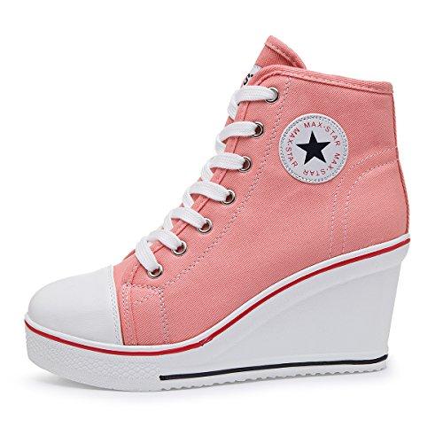 Kivors Sneaker Donna Zeppa Alte Donna Scarpe Tela in Alte Zeppa Interna Zip 9  CM Allacciate c1baaf94c0c