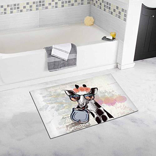 Lustige Mode Giraffe in Hipster Brille halten weibliche Tasche Home Decor rutschfeste weiche Bad Teppich Matten Dusche Teppich für Badezimmer Badewanne Schlafzimmer