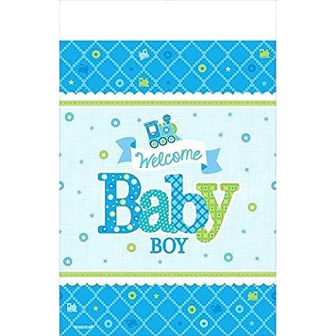 Amscan 5714611.37X 2,59m Welcome Baby Boy Papier Tisch Cover (Papier Tischdecken Weihnachten)