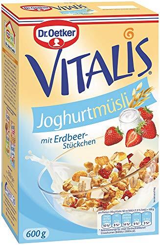 Dr. Oetker Vitalis Joghurtmüsli: Müsli für Frühstück & Zwischendurch, hervorragend mit Milch, Joghurt oder Obst, 6er Pack (6 x 600 g) (Erdbeer-joghurt-rosinen)