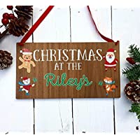 Christmas at the sign   signs personalised wooden merry christmas gift luxury family decorations