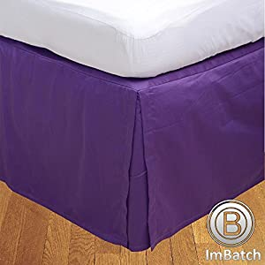 RoyalLinens UK King 400TC 100% Egyptian Cotton Purple Solid Elegant Finish 1PCs Box Pleated Bedskirt Solid (Drop Length: 11 inches)