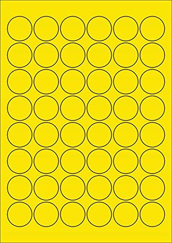 480 Etiketten Farbetiketten selbstklebend rund 30 mm GELB permanent klebend auf Bogen A4 (10 Bögen x 48 Etik.)