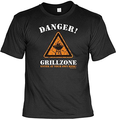 Danger Grillzone Geschenke Set für Männer - Griller T-Shirt mit Mini Shirt It´s Grill Time - BBQ Geschenk für Ihn Schwarz