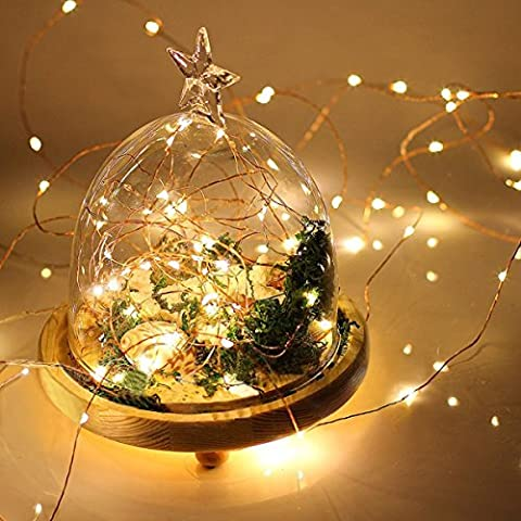Webeauty 7ft 20 luces de cuerda Led de alambre de cobre de iluminación Ambiance Impermeable Batería Powered Blanco cálido partido de Navidad al aire libre Patio mágico Wedding Dancing Dormitorio Deco (Cantidad del paquete del artículo: