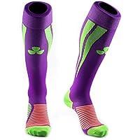 Calcetines de compresión Samson Hosiery ®, para deportes, para fútbol, entrenamiento, running, deporte, gimnasio, hombres, mujeres, unisex, mujer hombre Infantil, color Purple Green, tamaño Medium