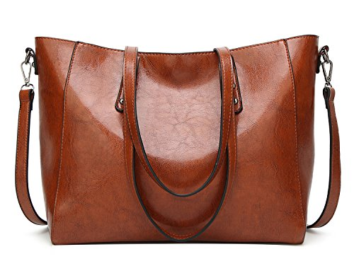 PB-SOAR Damen Elegant Stylisch Shopper Ledertasche Schultertasche Umhängetasche Handtasche Henkeltasche 34x28x14cm (B x H x T) (Braun) -