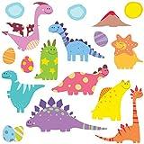 GET STICKING DECOR® Dinosaurio Pegatinas De Pared/ Calcomanías Colección, SuperCuteBabyDinos Dino8, Vinilo Removible Brillante, Multi Color. (Medium)