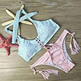 Floral Printed Bikini Tassel Tops and Bottoms Push Up Straps-Pink-Parent