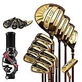 YPSMCYL Golf Club - 12 Mazze da Golf Maschili Ferri/Bastoncini di Carbonio - Master Ferri da Uomo Set Completo per Giocatori Professionisti,Gold-S-Carbon
