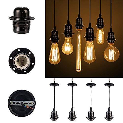 [GreenSun] 4x Vintage Hängelampenfassung E27 Edison Lampenfassung antike Deckenbeleuchtung Zubehör Metall Pendelleuchte Stecker im Retro-Look Kronleuchter Lampenfuss mit 1.35 Meter Kabel