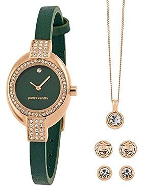Schmuckset für Damen mit Uhr, Kette und 2 Ohrstecker in Geschenkbox