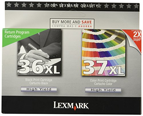 18C2249 (36XL, 37XL) High-Yield Ink, 500 Page-Yield, 2/Pack, Black, Sold as 1 Package - Lexmark All In One