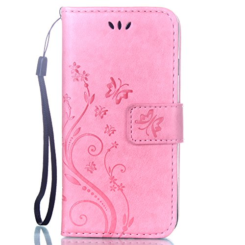iPhone 7 Coque Glitter,iPhone 7 Coque Souple,iPhone 7 Coque Cuir,iPhone 7 Coque Fleur Etui,iPhone 7 Leather Case Wallet Flip Protective Cover Protector,iPhone 7 Coque Portefeuille PU Cuir Etui,EMAXELE G Butterfly 2