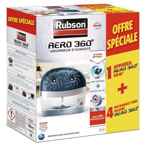 RUBSON Absorbeur d'humidité AERO 360 40m² + 4 recharges