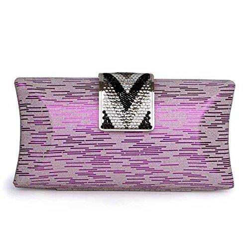 Il Sacchetto Del Pranzo Delle Coperture Di Modo Delle Signore Del Metallo Il Sacchetto Di Cosmetici Purple