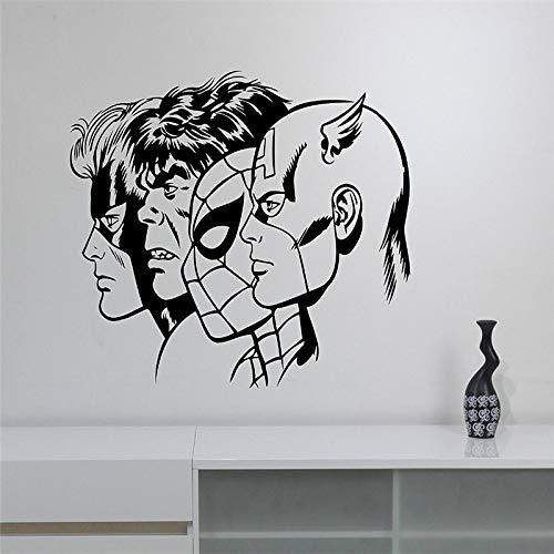 ft Superhelden Wandtattoo Abnehmbare Vinyl Wandaufkleber Art Decor Home Wandtattoos grau 58x70 cm ()