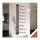 Exklusivpro Wandtattoo Willkommen in 10 Sprachen Flur Diele Eingang Bordüre (ban03 haselnussbraun) 120 x 57 cm mit Farb- u. Größenauswahl