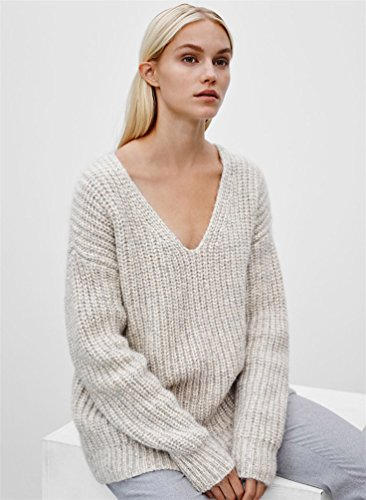 YouPue Pull Femme Chandails à Manches Longues Casual Col V Pull En Maille Sweater Jumper Tops Tricots Blanc