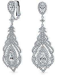 0bec1e2676ae Bling Jewelry Rodio de novia de latón chapado CZ de la lámpara de clip en  los