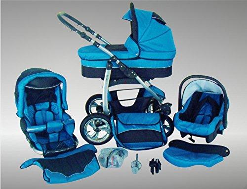 Chilly Kids Dino Cochecito de bebé combinado 3 en 1 - Cochecito de bebé y silla de paseo; Parasol (cubierta de la lluvia, mosquitero, adaptador de asiento de coche, ruedas giratorias, 55 colores) 011 Azul y Negro