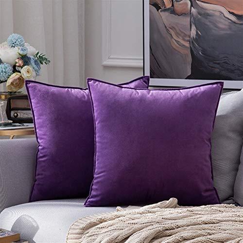 Semplice moderna Nordic velluto dell'ammortizzatore del cuscino di colore solido cuscino Ufficio della cinghia di vita Cuscino Soggiorno Divano Cuscino ( Color : Purple 1 , Size : 60x60cm/set )