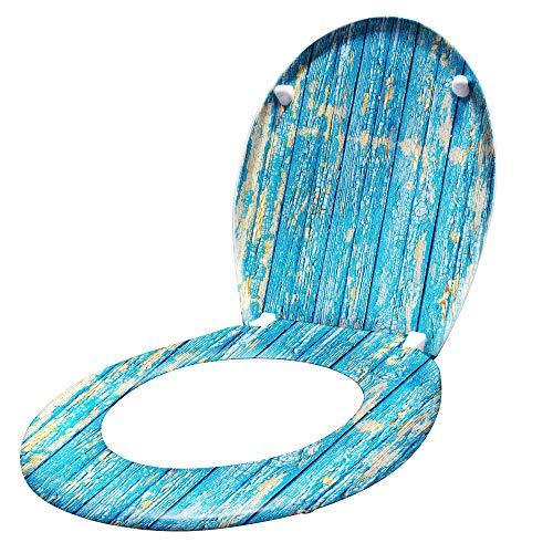 gris HENGMEI Tapa de wc Cierre Suave Tapa y asiento inodoro Asiento de Inodoro pl/ástico duro con bisagras extra/íbles sencilla instalaci/ón
