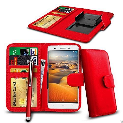 N4U Online - Clip On Kunstleder Hülle Tasche & Pen für HTC Desire 820G+ dual sim - Verschiedene Farben - Rot