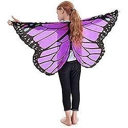 Disfraz Para Mujer/Niños, ❤️Xinantime Accesorio de disfraz de Pashmina para niños Chal estampado de mariposas Bohemia para niñas (❤️Morado)