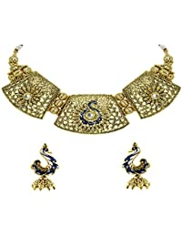 Zaveri Pearls Marwari Traditional Peacock Design Antique Necklace Set For Women - ZPFK5480