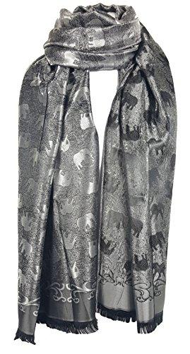 GFM Schal mit bedrucktem Elefantenmotiv,große Größe,füralle Jahreszeiten Gr. L, Luxury Thai Silk - Black Silver (EL-04-KLCH)