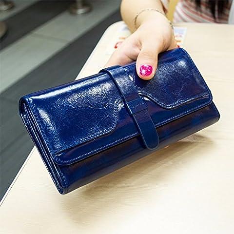 Aceite de cuero en Corea del Sur proporcionó la cera stick señoras monedero de cuero grande alrededor zip wallet con el titular de la tarjeta,azul