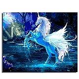 Pintura Al Óleo Digital Kit,Diy Pintura Pintada A Mano Por Números Kits De Pintura Al Óleo Digital Animal Unicornio Dibujos Animados Modernos Cuadros Abstractos Arte De La Pared Para Sala De Estar