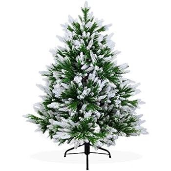 Künstlicher Weihnachtsbaum 120cm DeLuxe in Premium Spritzguss Qualität, angeschneite Nordmanntanne, Tannenbaum mit PE Kunststoff Nadeln, Nordmannstanne Christbaum im beschneit Design