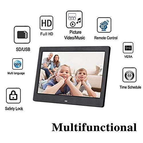 10 Zoll Fernbedienung Digitaler Fotorahmen HD 720P Elektronischer Fotorahmen mit SD Uhr und Uhrkalender Zeitgesteuertes Ein / Ausschalten Automatisch digitaler Bilderrahmen EU / UK-Stecker enthalten