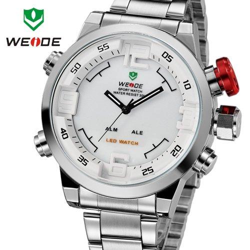 Herren-Armbanduhr, Militärstil, Stahl, Taucheruhr, Quarzuhrwerk, Multifunktions-LED-Display