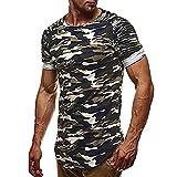 Malloom Muscle Beau personnalité Camouflage Hommes Slim Casual Chemise à Manches Courtes Blouse (M, Vert)
