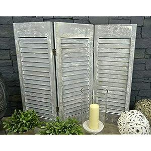 Livitat® Paravent Fensterladen H81 x B92 cm 3 flügelig Holz Shabby Chic Landhaus Deko LV1068 (Shabby Weiß)