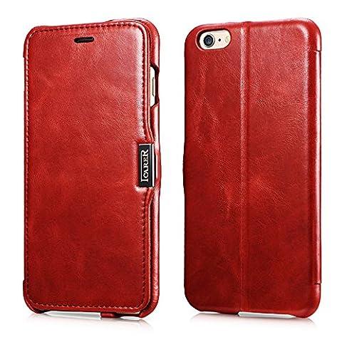 iPhone 6S Plus / 6 Plus Leather Case, FUTLEX Vintage Series Genuine Leather Folio Cover with Magnetic Closure - Ultra Slim - Full Protection - Handmade - Folded Edge Design -