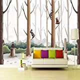 Uhu 3D Wallpaper Mural De Dibujos Animados Papel Tapiz 3D Jardín De Infantes De Educación Temprana Dormitorio De Fondo Arte Mural Papel Pintado Oso Lindo, 400 * 280 Cm